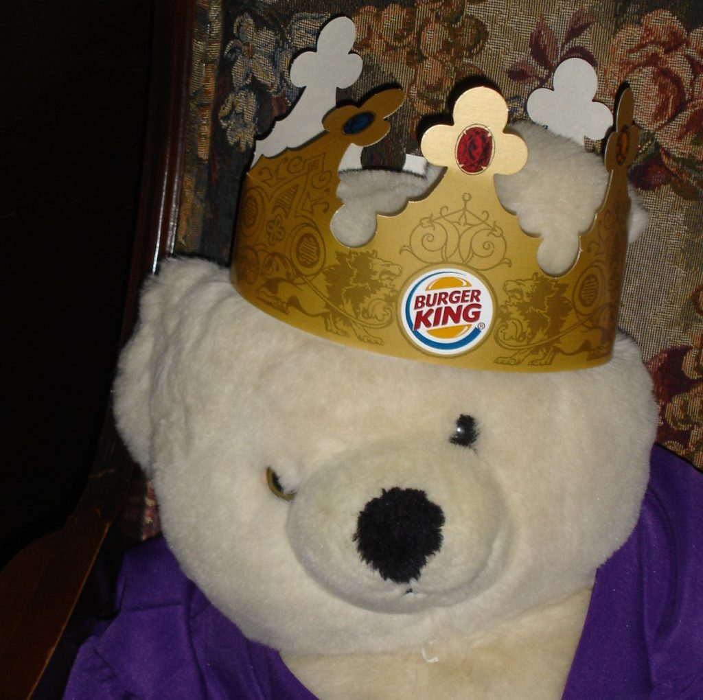 Stuffed bear with Burger King crown