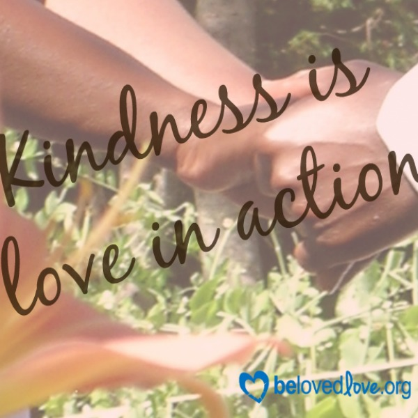 Kindness is love in action written over pictures of hands clasped.
