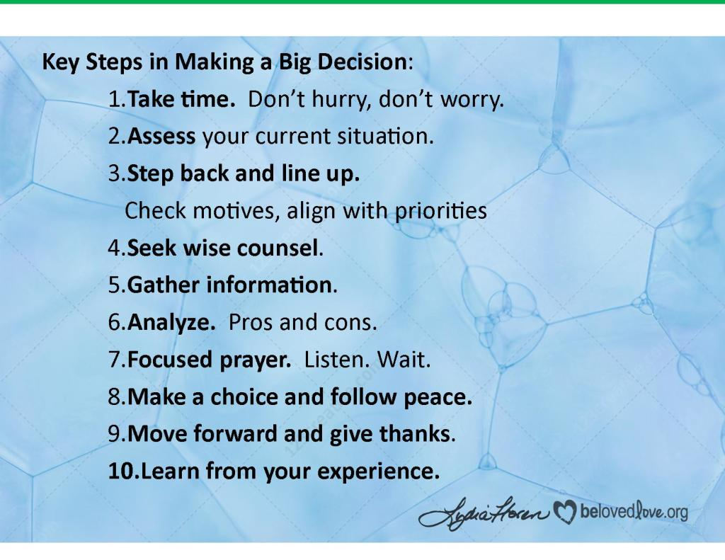 Key steps in making a big decision