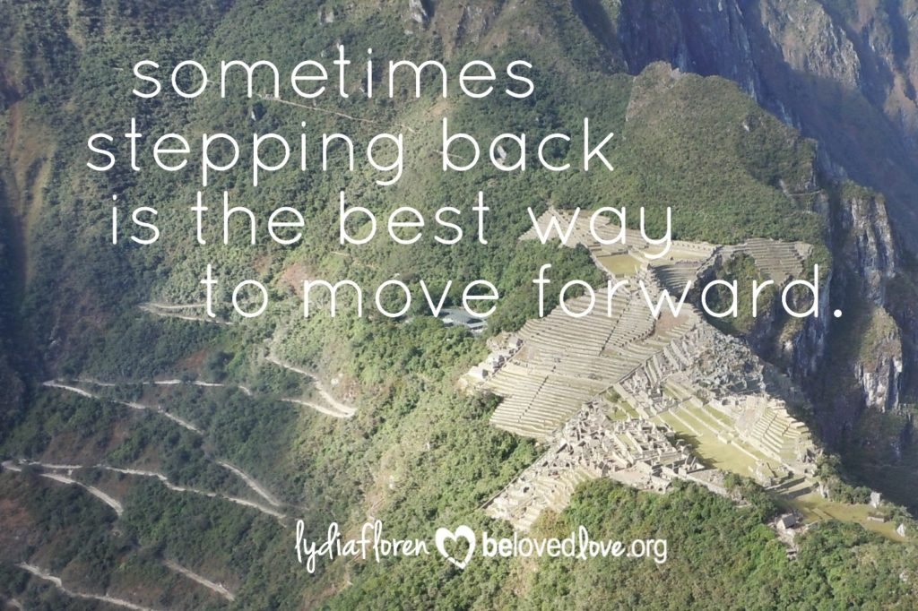 sometimes stepping back is the best way to move forward.