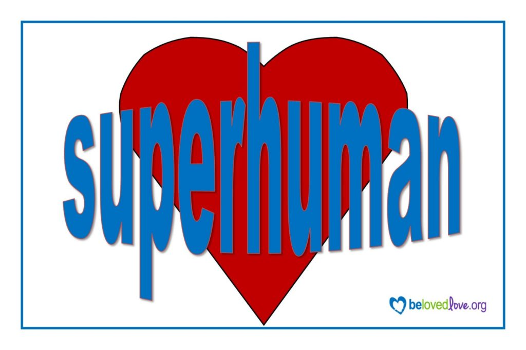 red heart with the word superhuman imposed on it.