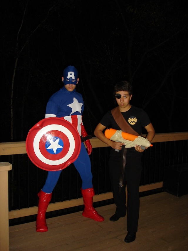 Two boys in super hero costumes - Captain America