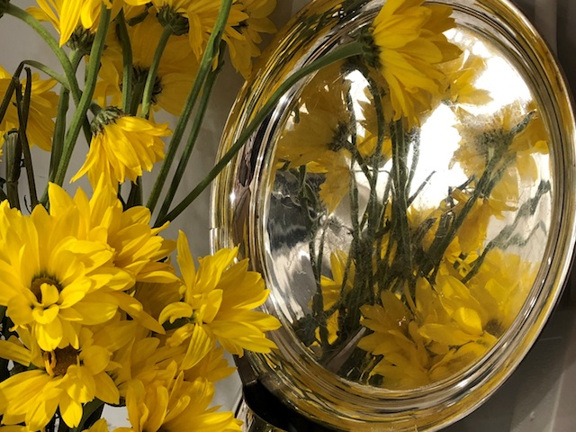 sunflowers reflected in a silver tray